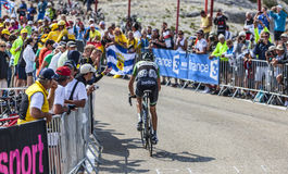 The Cyclist Robert Gesink. Mont Ventoux, France- July 14 2013: The Dutch cyclist Robert Gesink (Belkin Pro Cycling Team), climbing the last kilometer of the Royalty Free Stock Image