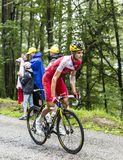 The Cyclist Rudy Molard  Climbing Col du Platzerwasel - Tour de Royalty Free Stock Photos