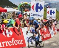 The Cyclist Ryder Hesjedal. Col de Val Louron-Azet, France- July 07,2013: The Canadian cyclist Ryder Hesjedal(Garmin Sharp Team) passing the Col de Val Lauron Stock Photos
