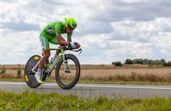 The Cyclist Sagan Peter. Beaurouvre,France, July 27 2012:Image of the Italian cyclist Sagan Peter (Liquigas-Cannondale team) wearing The Green Jersey ( the best Royalty Free Stock Image