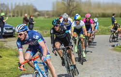 The Cyclist Salvatore Puccio - Paris Roubaix 2016 stock images
