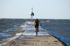 Cyclist and the sea Royalty Free Stock Photo
