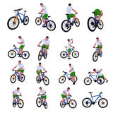 Cyclist set 013. Illustration of colored male silhouettes isolated on white background Royalty Free Stock Image