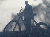 Cyclist - shadow Stock Images