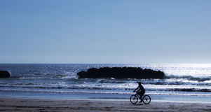 Cyclist on the shore. Stock Photography