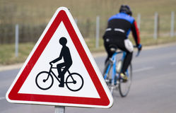 Cyclist signal. Photo of a cyclist signal on the road Royalty Free Stock Photography