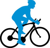 Cyclist Silhouette. With blue cycler Stock Photography