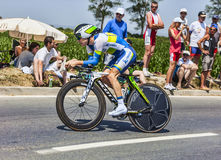 The Cyclist Simon Clarke. Ardevon,France-July 10, 2013: The Australian cyclist Simon Clarke from Orica-GreenEDGE Team cycling during the stage 11 of the edition Stock Image