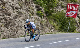 The Cyclist Simon Geschke. Chorges, France- July 17, 2013: The German cyclist Simon Geschke from Argos-Shimano Team pedaling during the stage 17 of 100th edition Royalty Free Stock Photo