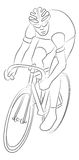 Cyclist Sketch. Cyclist Simplified Contour Sketch isolated on white Royalty Free Stock Images