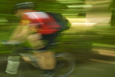 Cyclist biking speed  Royalty Free Stock Photos