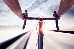 Cyclist in speed Stock Photography