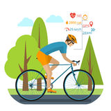 Cyclist on the sports bike. Rides in the park. Infographics cycling computer, GPS, heartbeat, distance, time, stopwatch, speed, burning calories. Bike Stock Photo