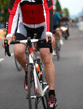 Cyclist during the sprint to win the stage of the cycling race. Athlete Cyclist during the sprint to win the stage of the cycling race Royalty Free Stock Image