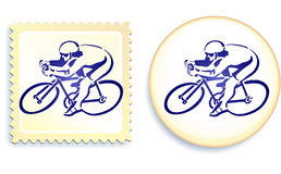 Cyclist on Stamp and Button Set Stock Photo