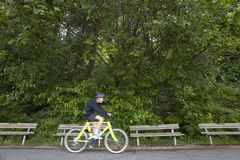 Cyclist in Stanley Park. Vancouver. Canada Stock Photos