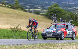 The Cyclist Steve Morabito. Chorges, France- July 17, 2013: The Swiss cyclist Steve Morabito from BMC Racing Team pedaling during the stage 17 of 100th edition Royalty Free Stock Image