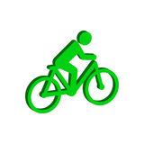Cyclist symbol. Flat Isometric Icon or Logo. 3D Style Pictogram Royalty Free Stock Images