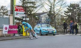 The Cyclist Tanel Kangert - Paris-Nice 2016 Royalty Free Stock Photo