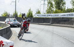 The Cyclist Tejay van Garderen - Tour de France 2014. Coursac, France - July 26, 2014: The American cyclist Tejay van Garderen ( BMC RacingTeam) pedaling  on a Stock Photography