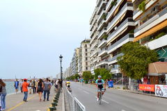 Cyclist Thessaloniki embankment Royalty Free Stock Image