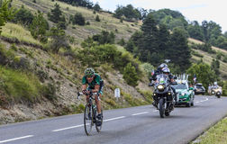 The Cyclist Thomas Voeckler. Chorges, France- July 17, 2013: The French cyclist Thomas Voeckler from Team Europcar pedaling during the stage 17 of 100th edition Royalty Free Stock Images