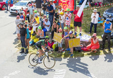 The Cyclist Thomas Voeckler on Col du Glandon - Tour de France 2 Royalty Free Stock Photo