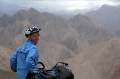 Cyclist in Tibet Stock Images
