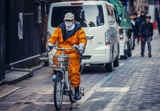 Cyclist in Tokyo Royalty Free Stock Photo