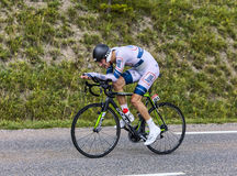 The Cyclist Tom Dumoulin. Chorges, France- July 17, 2013: The Dutch cyclist Tom Dumoulin from Argos-Shimano Team pedaling during the stage 17 of 100th edition of Royalty Free Stock Images