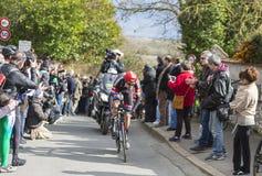 The Cyclist Tom Dumoulin - Paris-Nice 2016. Conflans-Sainte-Honorine,France-March 6,2016: The Dutch cyclist Tom Dumoulin of Giant-Alpecin Team riding during the Stock Photo