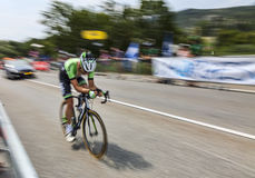 The Cyclist Tom Leezer. Chorges, France- July 17, 2013:Panning image of the Dutch cyclist Tom Leezer from Belkin Pro Cycling Team pedaling during the stage 17 of Royalty Free Stock Photos