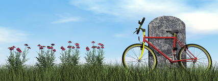 Cyclist tombstone - 3D render Royalty Free Stock Images