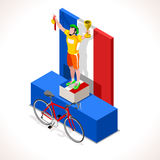 Cyclist Tour Winner Isometric People 3D Vector Illustration Royalty Free Stock Image
