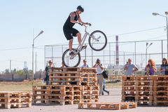 Cyclist tracer jumping on a wooden pallet in front of audience Royalty Free Stock Image