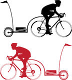 Cyclist with a trailer. Illustration clip-art eps vector stock illustration