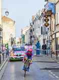 The Cyclist Ulissi Diego- Paris Nice 2013 Prologue. Houilles, France- March 3rd 2013: The Italian cyclist Ulissi Diego from Lampre Merida Team , riding during Stock Photo