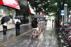 Cyclist Using Umbrella riding along sidewalk in Japan Royalty Free Stock Image