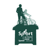 Cyclist. Vector illustration. Authors illustration in Royalty Free Stock Photo