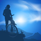 Cyclist. Vector illustration. Authors illustration in Stock Image