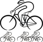 Cyclist - vector silhouettes Royalty Free Stock Photo