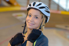 Cyclist in velodrome posing. Cyclist in the velodrome posing Royalty Free Stock Photo