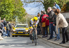 The Cyclist Victor Campenaerts - Paris-Nice 2016. Conflans-Sainte-Honorine,France-March 6,2016: The Belgian cyclist Victor Campenaerts of Lotto NL-Jumbo Team Stock Image