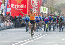 Cyclist victory. BARCELONA, SPAIN - MARCH 24: Samuel Sanchez of Euskaltel Team wins the 6th stage of the Volta a Catalunya cycling race, on March 24, 2012, in Royalty Free Stock Photo