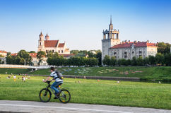 Cyclist in Vilnius city Royalty Free Stock Photo