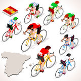 Cyclist Vuelta Espana Isometric People Spain Racing Cyclist Group Royalty Free Stock Photo