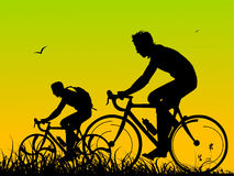 Cyclist on walk. On ground with abstract background Stock Photo