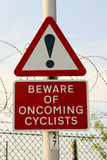Cyclist warning sign Stock Photo