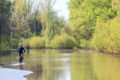 Cyclist in water royalty free stock photo