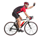 Cyclist waving hands and riding a bicycle Royalty Free Stock Photos